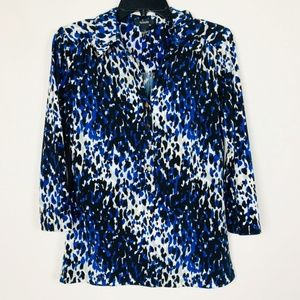 Alfani Womens Size S White Blue Gray Black Blouse